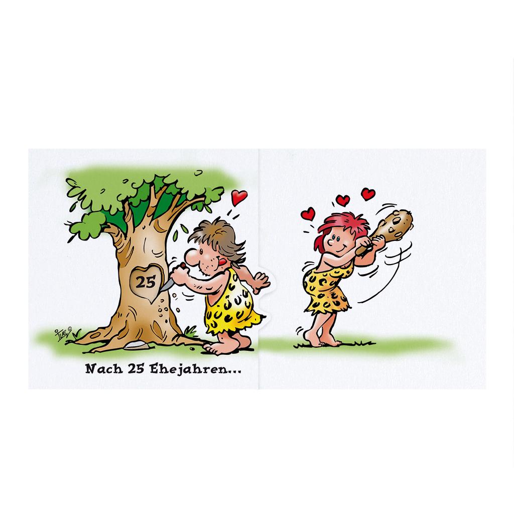 humorvolle comic einladungskarte mit ehepaar  steinzeit