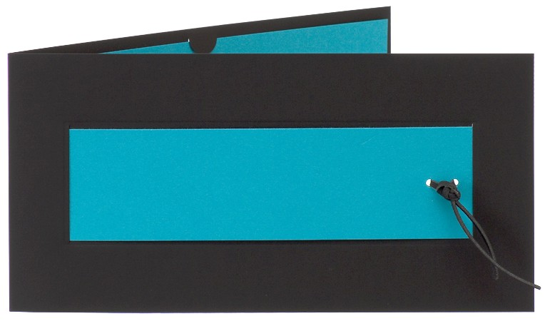 einladungskarte blanko matt-schwarz einlegeblatt in azurblau, Einladungsentwurf