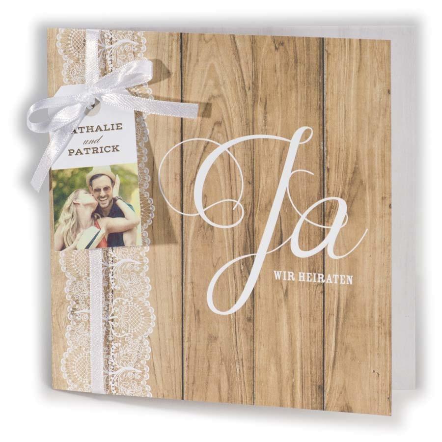 Romantische Hochzeitskarte In Holzoptik Mit Ja Wir Heiraten Und
