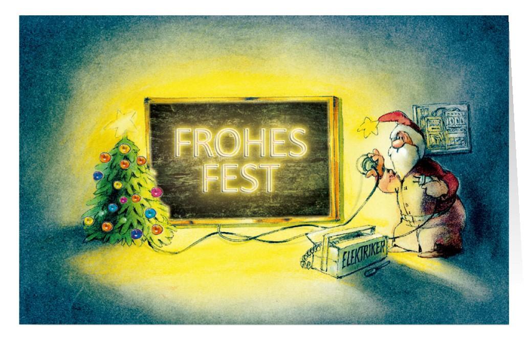 Weihnachtskarte Branchenkarte Elektriker Beleuchtung Frohes Fest ...