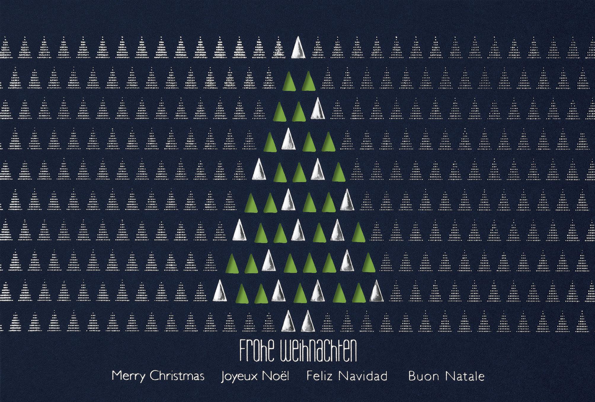 Moderne Weihnachtsgrüße Für Karten.Moderne Weihnachtskarte In Blau Mit Stanzung Und Grünem Einlegeblatt