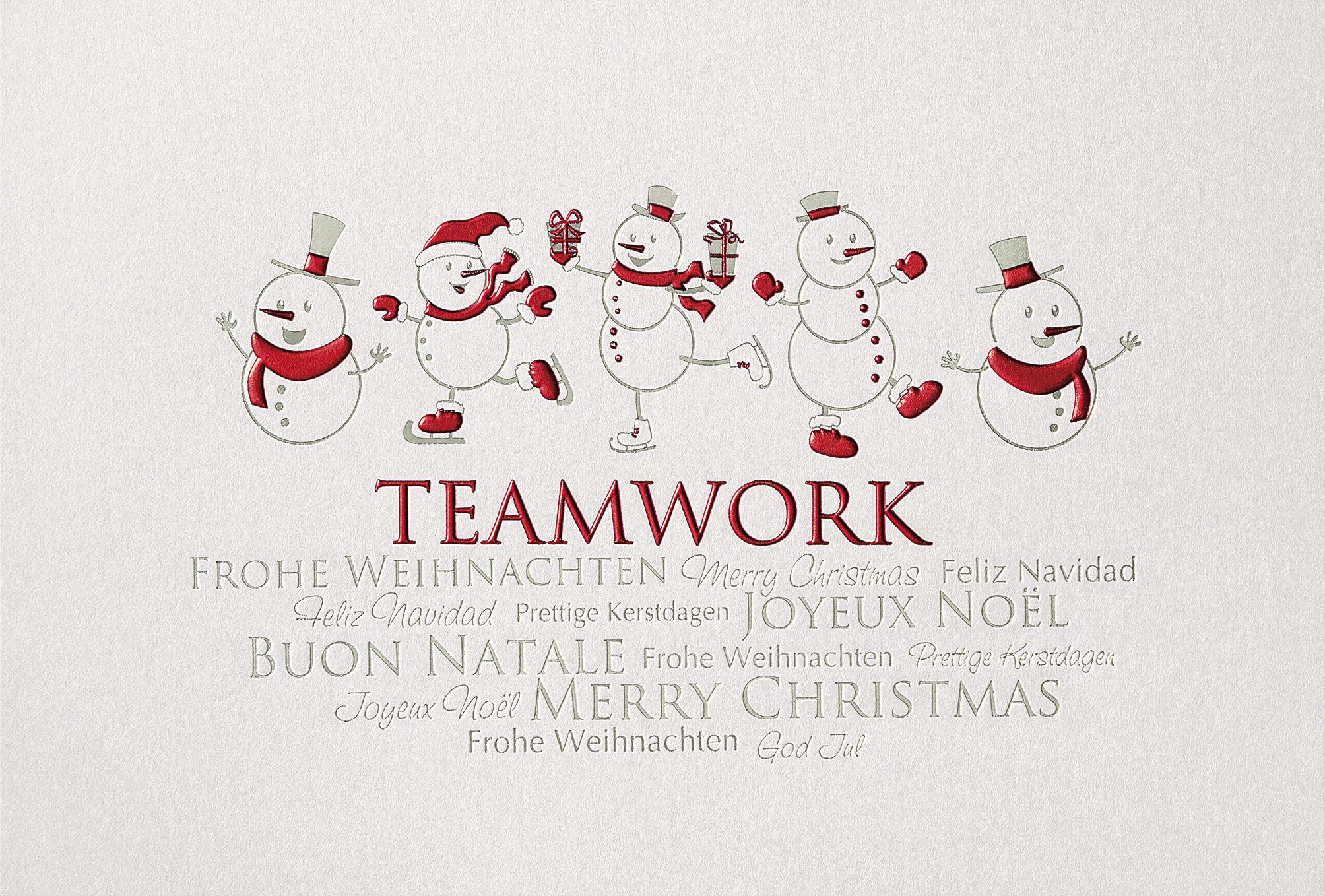 lustige team weihnachtskarte mit schneem nner in wei. Black Bedroom Furniture Sets. Home Design Ideas
