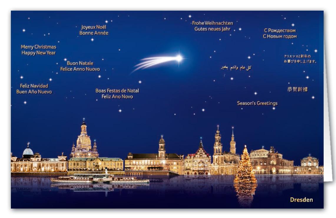 Weihnachtskarte als Städtekarte von Dresden mit internationalen ...