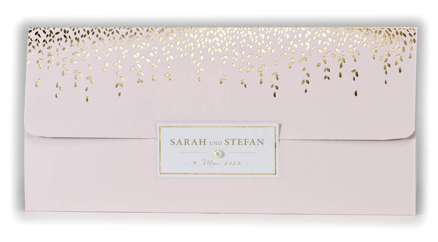 Pocketkarte Als Einladungskarte Rosa Mit Perle Und Foliendruck In