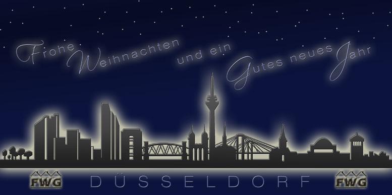 weihnachtskarte nachtblau d sseldorf skyline. Black Bedroom Furniture Sets. Home Design Ideas