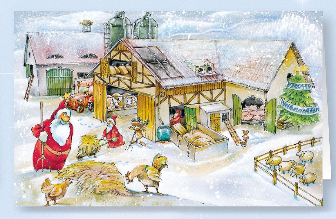 weihnachtskarte branchenkarte bauernhof landwirtschaft
