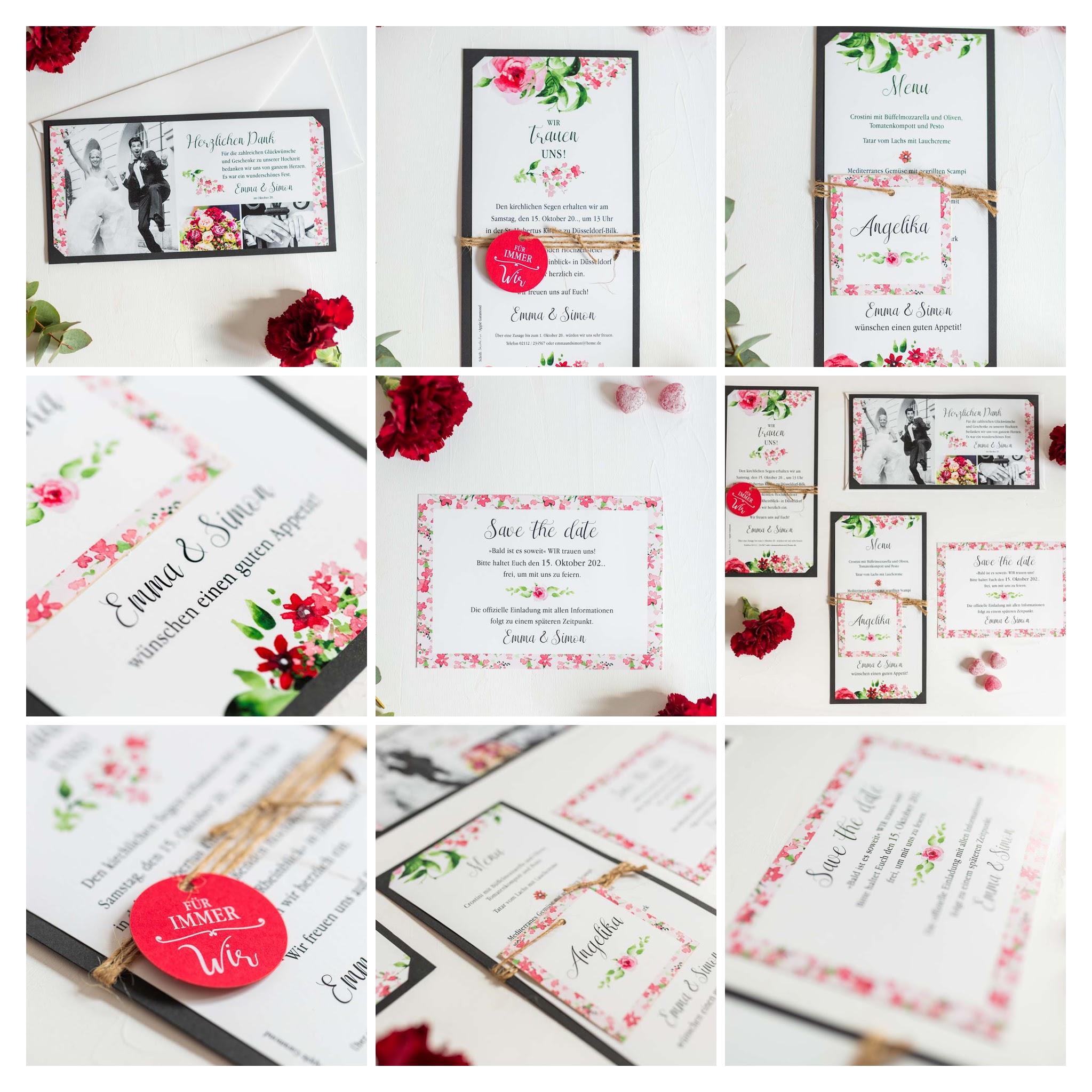 Fotocollage - Romantisches Einladungskarten-Set mit Blumenaquarell in zartem rosa, rot und grün