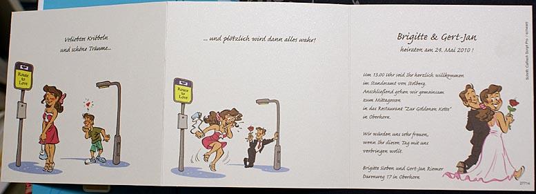Hochzeitskarte Leporello Comic Liebe Auf Den Ersten Blick
