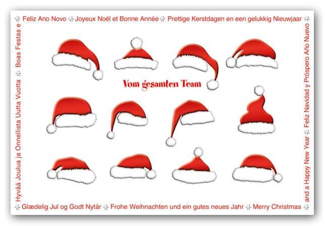 Lustige Team Weihnachtskarte mit Weihnachtsgrüßen in mehreren