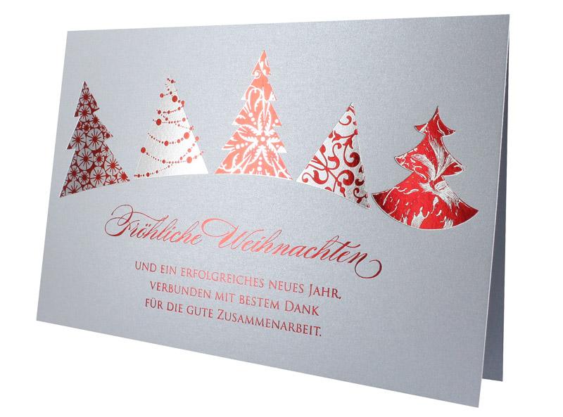 weihnachtskarte silber grau mit roten weihnachtsb umen und bestem dank f r gute zusammenarbeit