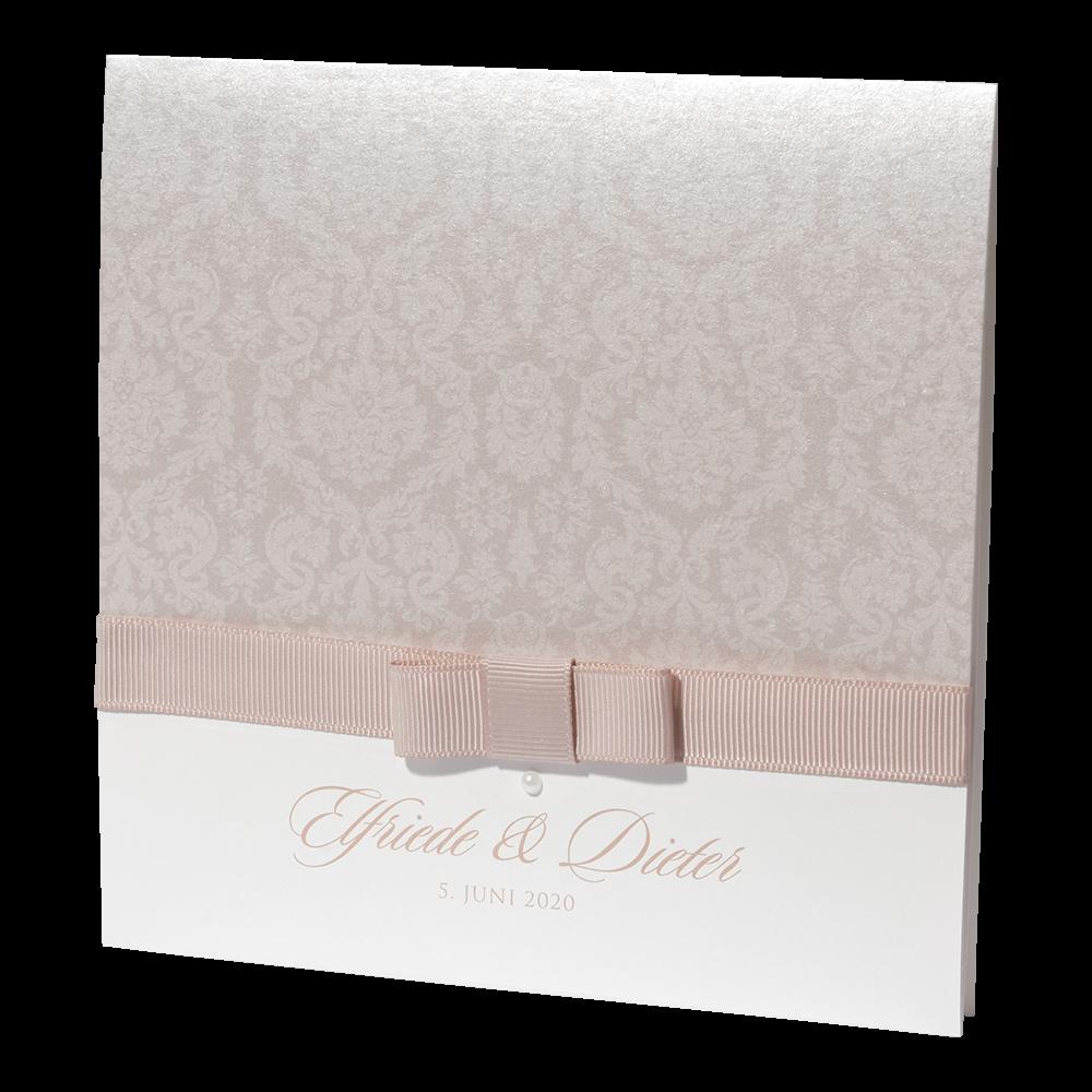 Einladungskarte Cappuccino Mit Ornament Schleife Und Perle