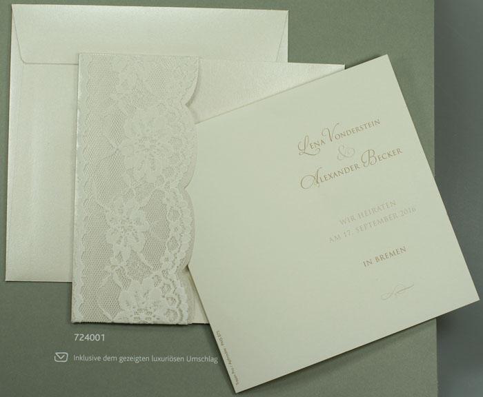 Einladungskarte Elfenbein/perlmutt Metallic Mit Band Aus Spitze U2013  Hochzeitskarten U2013 Hochzeitseinladungskarten U2013 Mit Ornamenten / Ranken U2013  Alle Karten.de