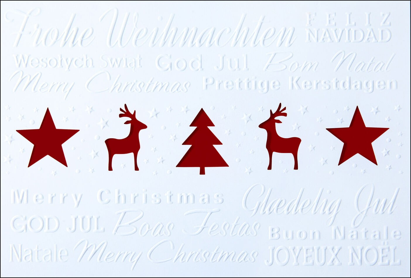 Weihnachtskarte Weiß Mit Dunkelrotem Einleger Und Internationalen