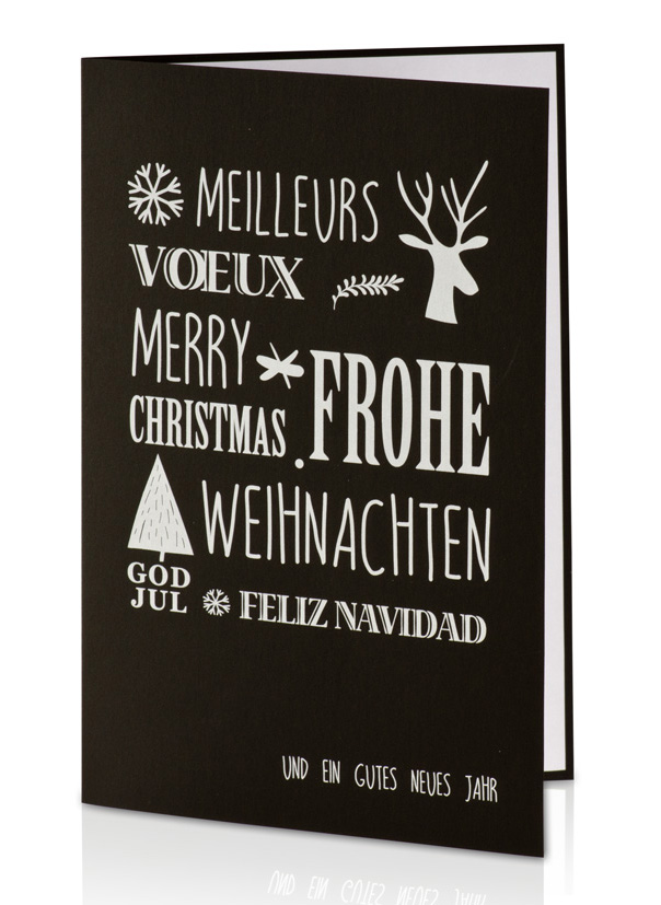 weihnachtskarte schwarz wei mit frohe weihnachten. Black Bedroom Furniture Sets. Home Design Ideas