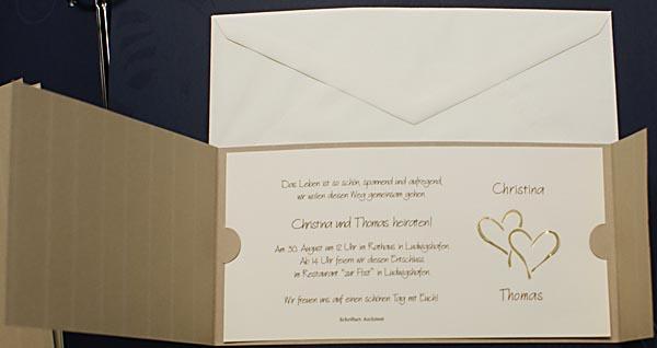 Hochzeitskarte fzh1628 ocker mit Nadelstreifen u. goldene Herzen ...