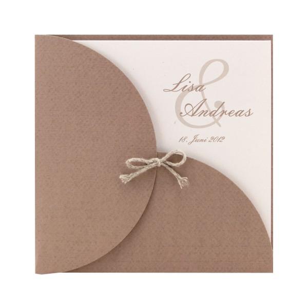 Einladungskarte Braun Mit Einleger Mit Fasereinschlussen Natur