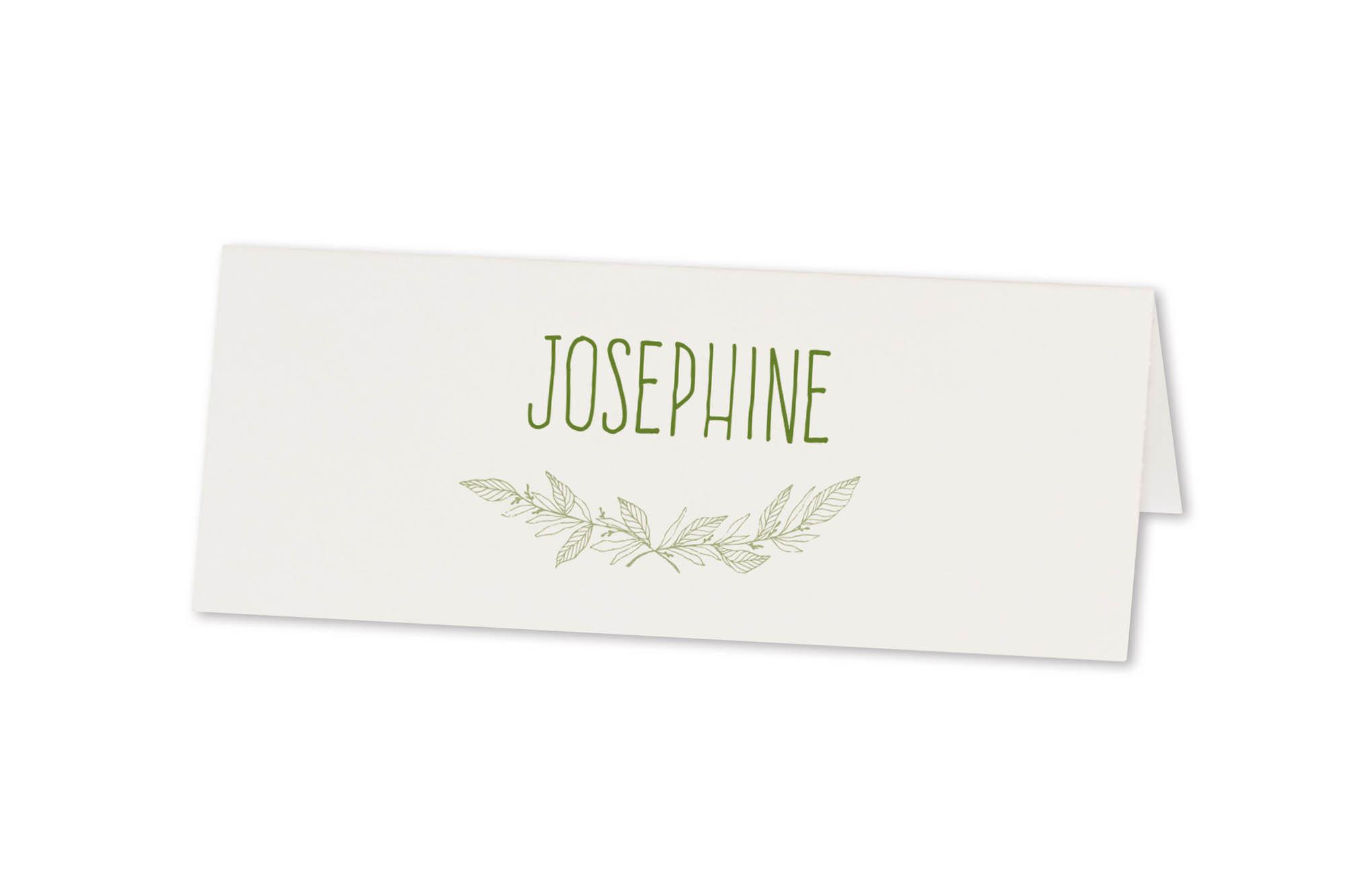 Weiße Tischkarte mit dezenten Blätterranken in grün
