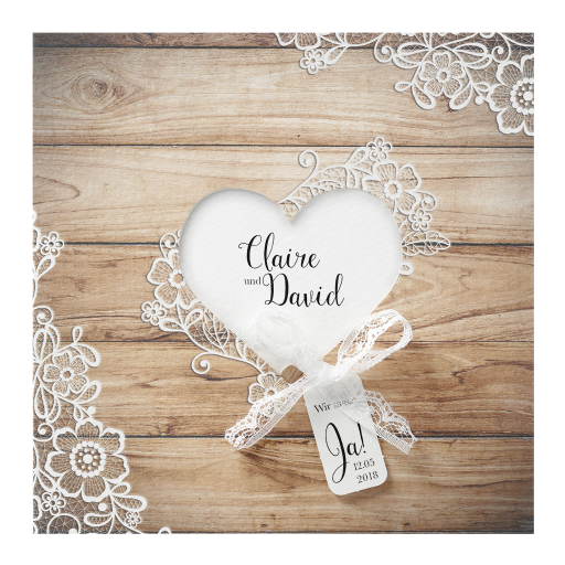 Hochzeitskarte Almhutten Style Braun Mit Herzausschnitt Weissem