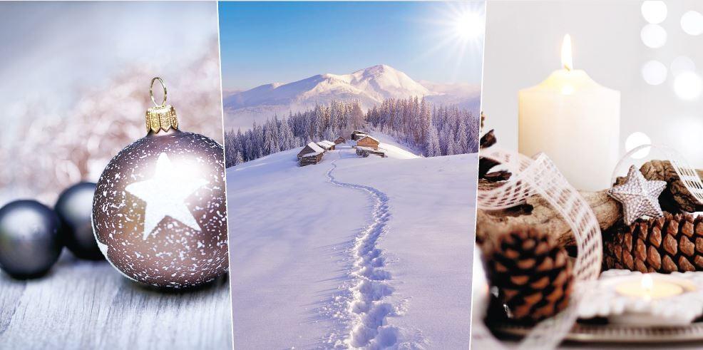 Winterliche Weihnachtsgrüße.Winterliche Panorama Weihnachtskarte Mit Klassischer Foto Collage
