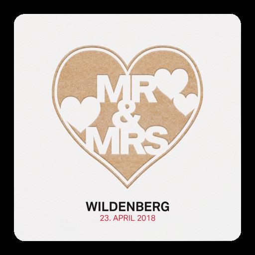 Moderne Hochzeitskarte mit großem Herz Mr & Mrs im Reliefdruck