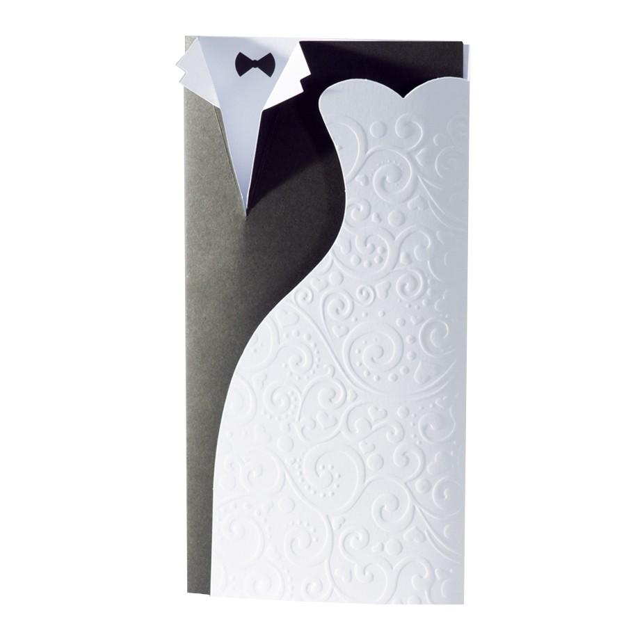 Hochzeitskarte schwarz - weiß Anzug & Brautkleid Reliefprägung ...