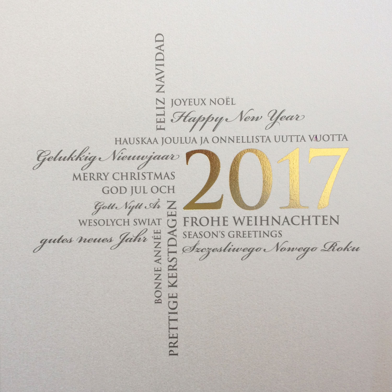 Weihnachtskarte perlmutt quadratisch mit intern - Weihnachtskarte englisch ...