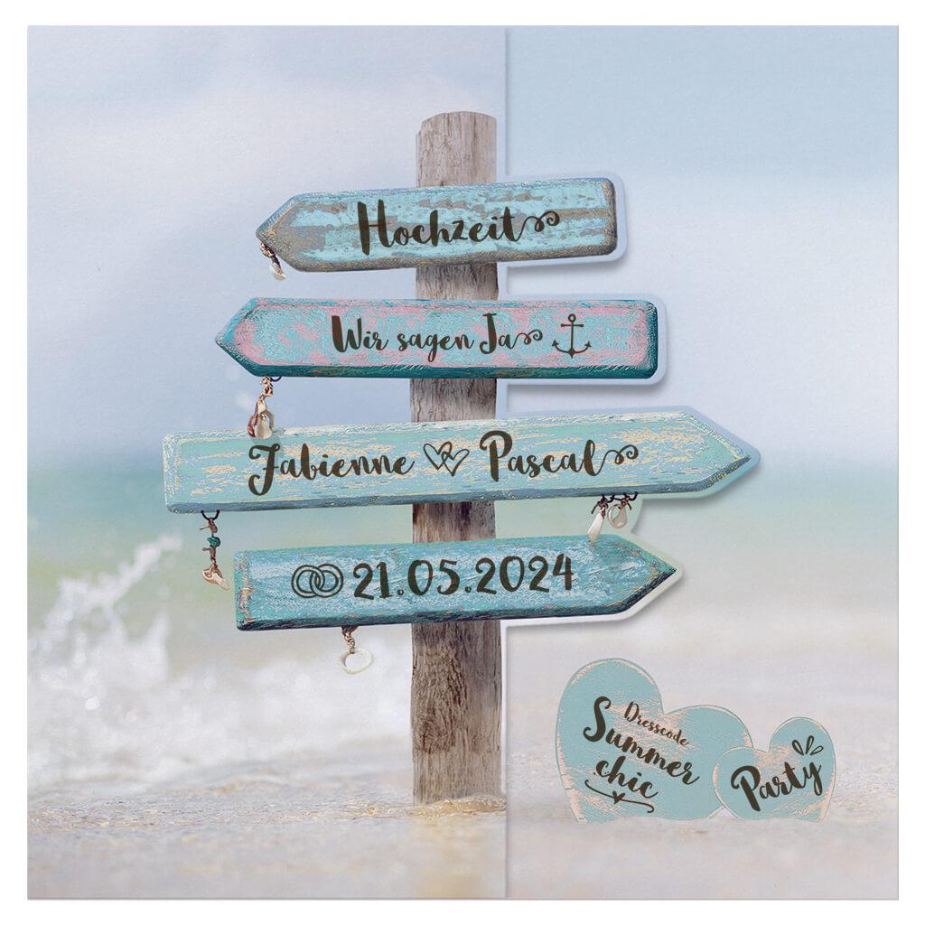 Hochzeitskarten Im Maritimen Stil Mit Strand Meer Und