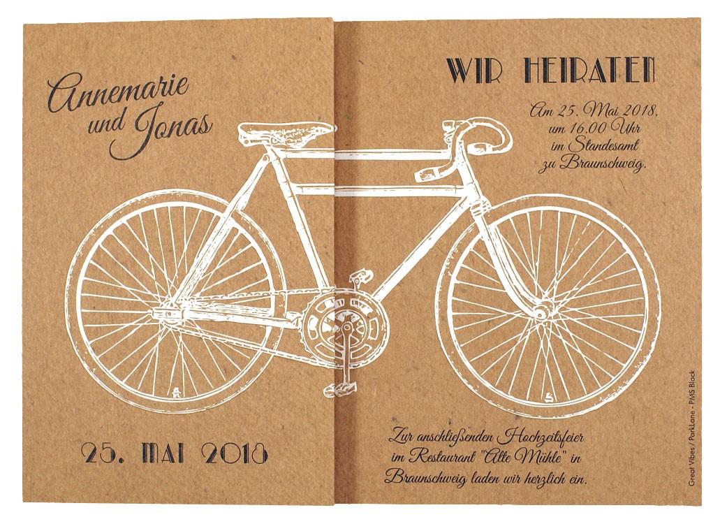 Hochzeitskarte Braun Mit Weissem Fahrrad Tandem Hochzeitskarten