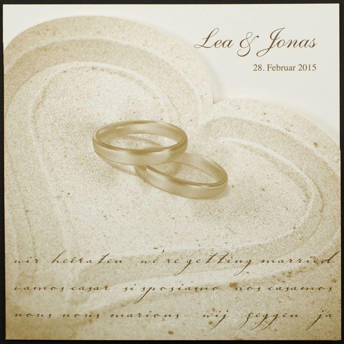 Hochzeitskarte Quadratisch Eheringe Sand Herz Pr16341