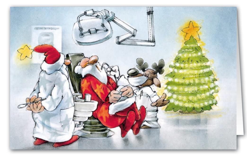 originelle weihnachts branchenkarte fuer zahnarzt oder