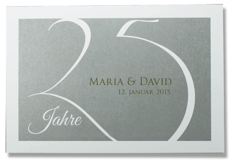 einladungskarte zur silberhochzeit weiße 25 silber hintergrund