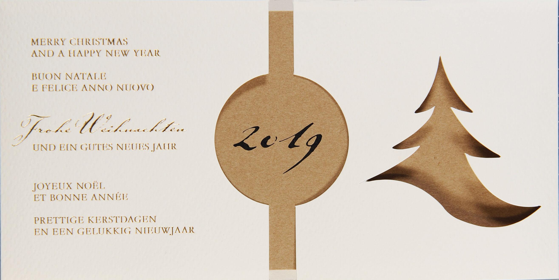 Weihnachtswünsche Modern.Moderne Weihnachtskarte Mehrsprachig In Creme Mit Stanzung