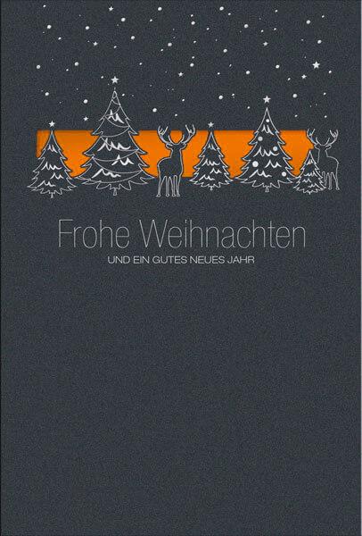 Weihnachtskarten Spende.Weihnachtsspendenkarte In Anthrazit Mit Einleger In Orange Zugunsten Deutsches Kinderhilfswerk