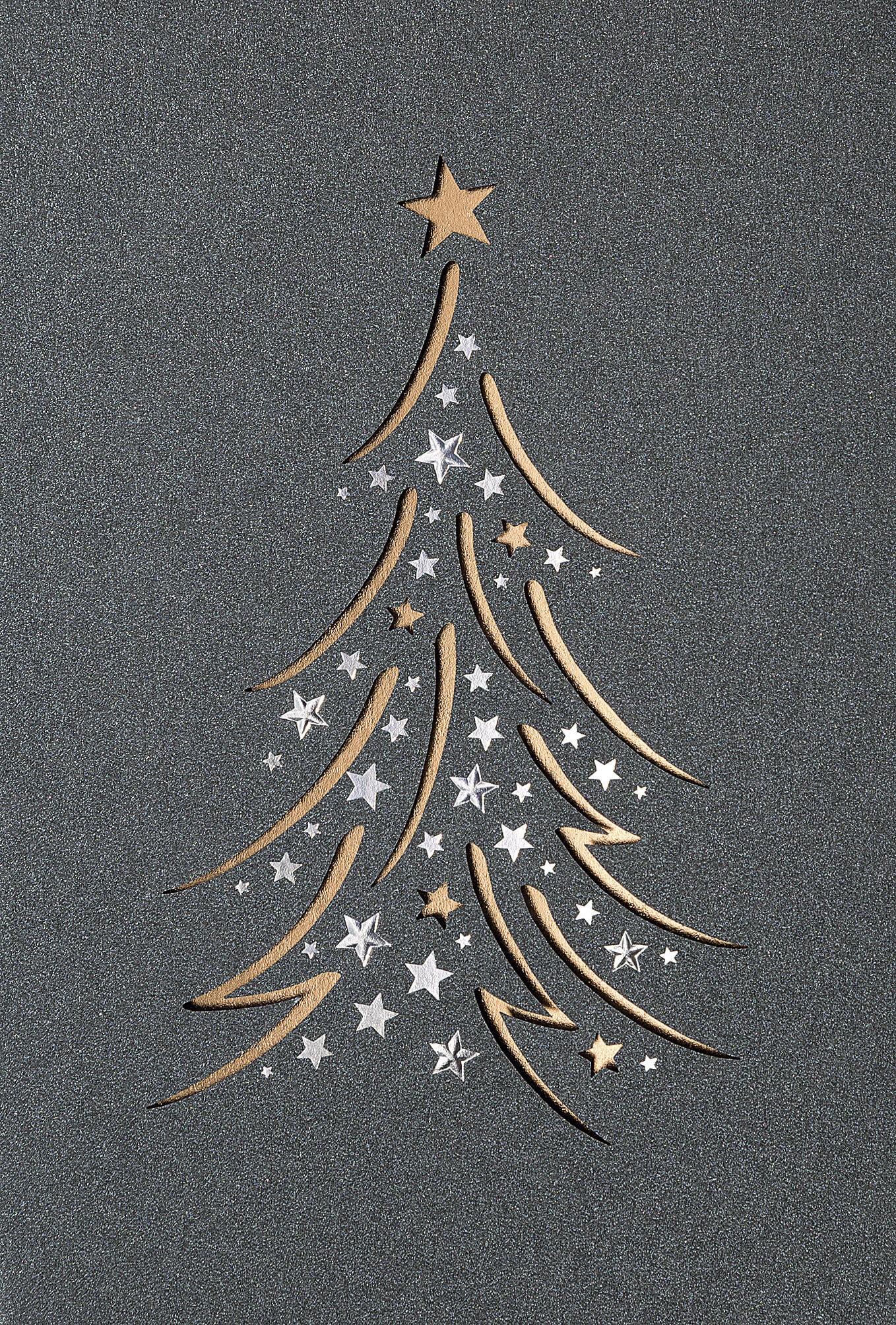Edle Weihnachtskarten.Edle Weihnachtskarte Mit Feiner Stanzung Und Kupferfarbenem Einleger