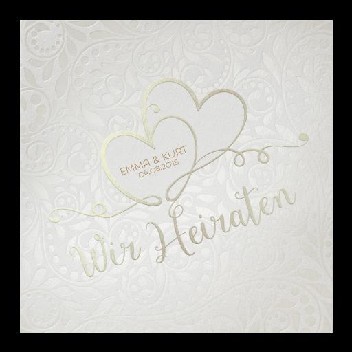 Hochzeitskarte Perlmutt Mit Schriftzug Wir Heiraten Und Zwei