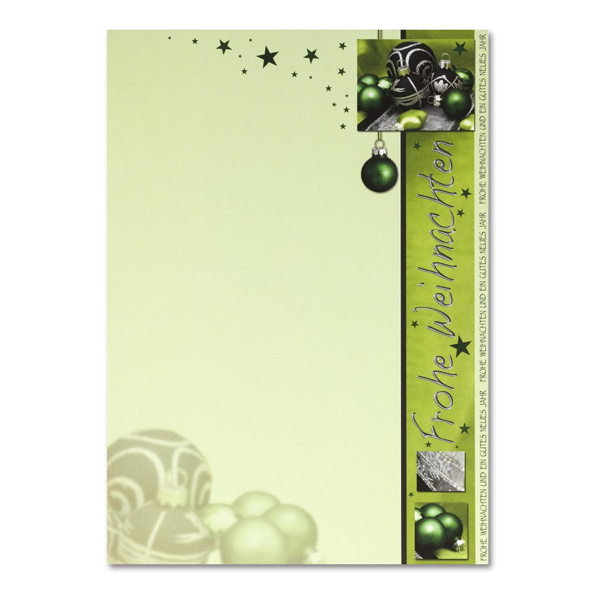 weihnachts briefbogen din a4 gr n mit weihnachtskugeln und. Black Bedroom Furniture Sets. Home Design Ideas