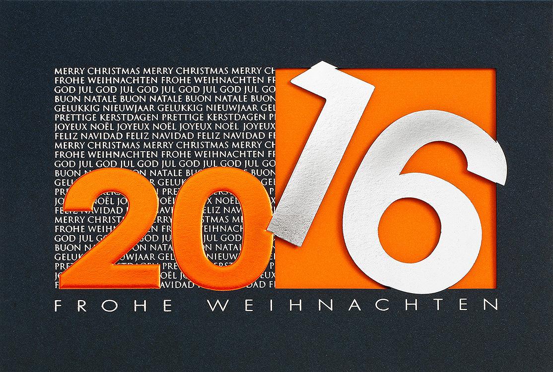 Weihnachtskarte nachtblau orange mit gro er jahreszahl - Weihnachtskarten erstellen ...