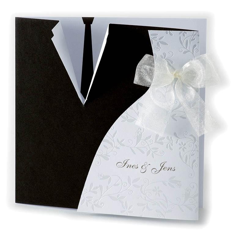 Hochzeitskarte Schwarz Weiß Krawatte Brautkleid U2013 Hochzeitskarten U2013  Hochzeitseinladungskarten U2013 Mit Ornamenten / Ranken U2013 Alle Karten.de