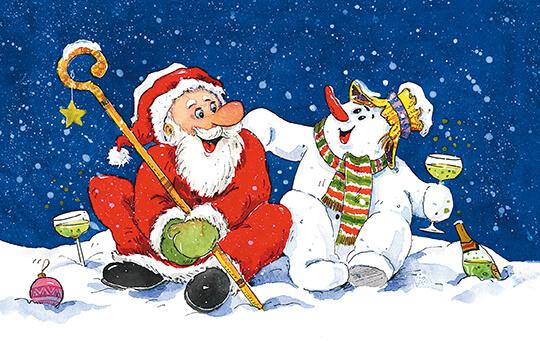 fröhliche weihnachtskarte schneemann und weihnachtsmann