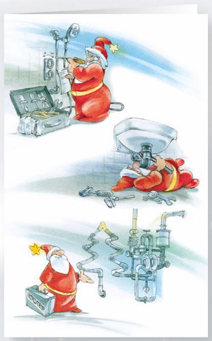 Weihnachtskarte Installateur Sanitr Bad Branchenkarte