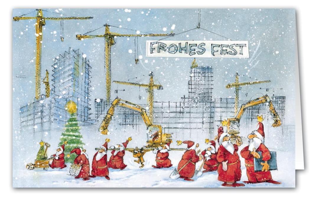 Weihnachtsgrüße Geschäftlich Lustig.Lustige Weihnachts Branchenkarte Für Hochbau Und Baufirmen Mit Weihnachtsgruß