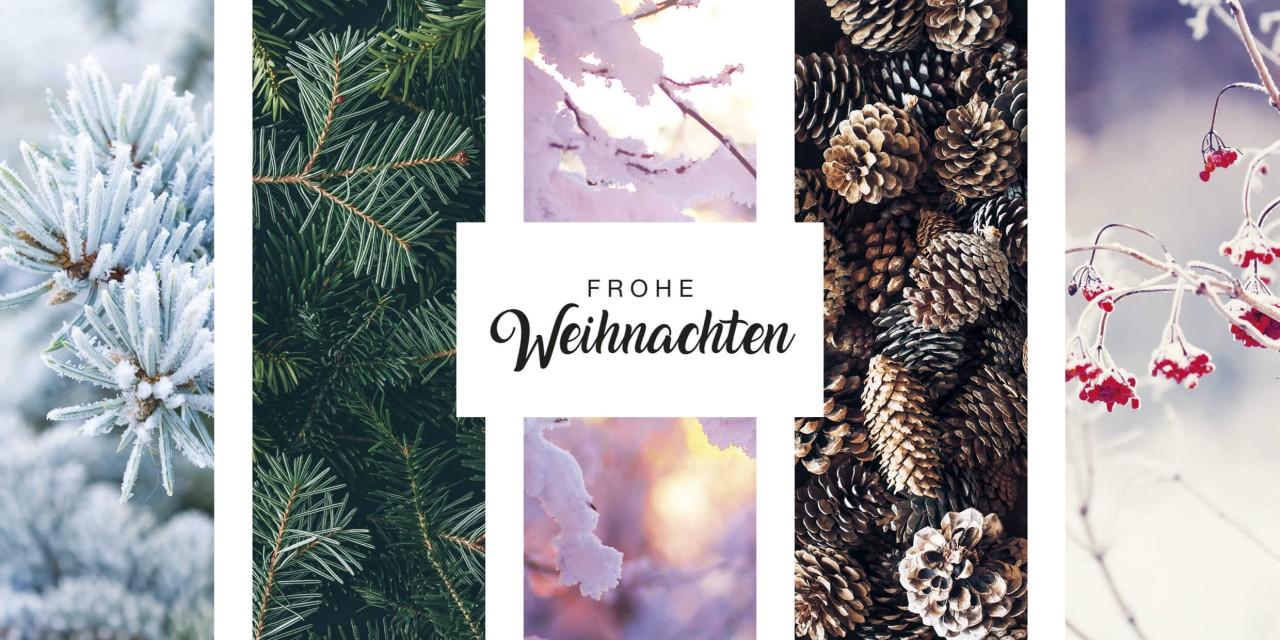 Winterliche Weihnachtskarte im Glanzdruck DIN lang mit ...