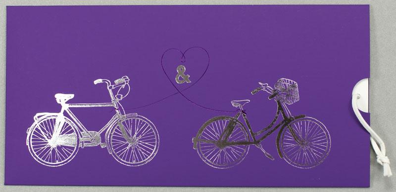 Hochzeitskarte Lila Fahrrad Tandem Herz Zeichen Ba723117