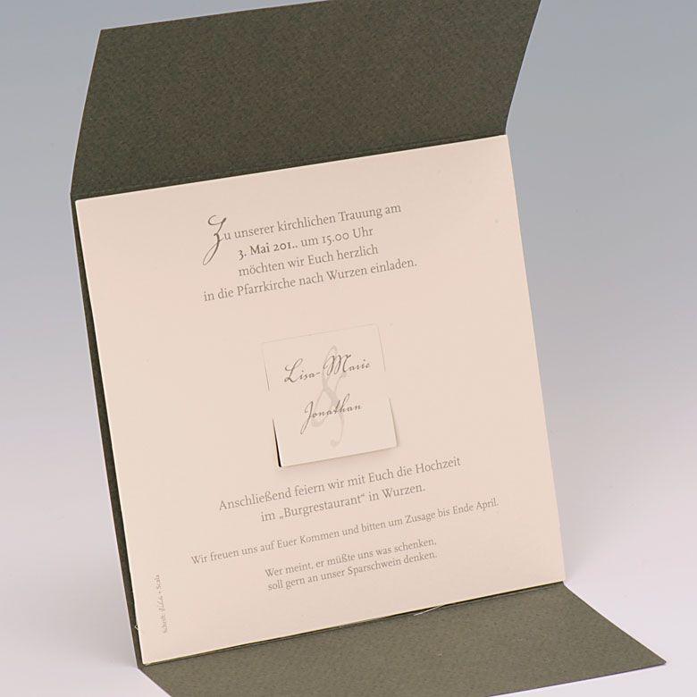 Einladungskarte dunkelgrün mit zwei Klappen und Ornamentdruck