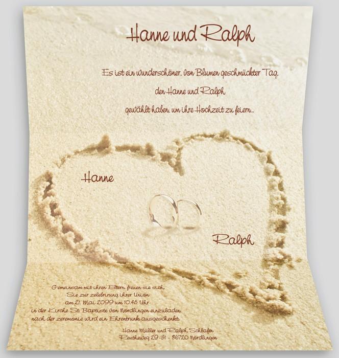 Hochzeitsbrief Mit Aufgedrucktem Sandstrand Mit Herz Und Ringen U2013  Hochzeitskarten U2013 Hochzeitseinladungskarten U2013 Einladungskarten Mit Ringen U2013  Alle Karten.de