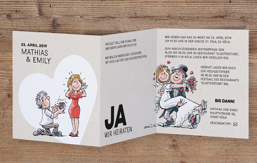Witzige leporello Hochzeitskarte mit Heiratsantrag Mann auf Knie und Brautpaar Comic