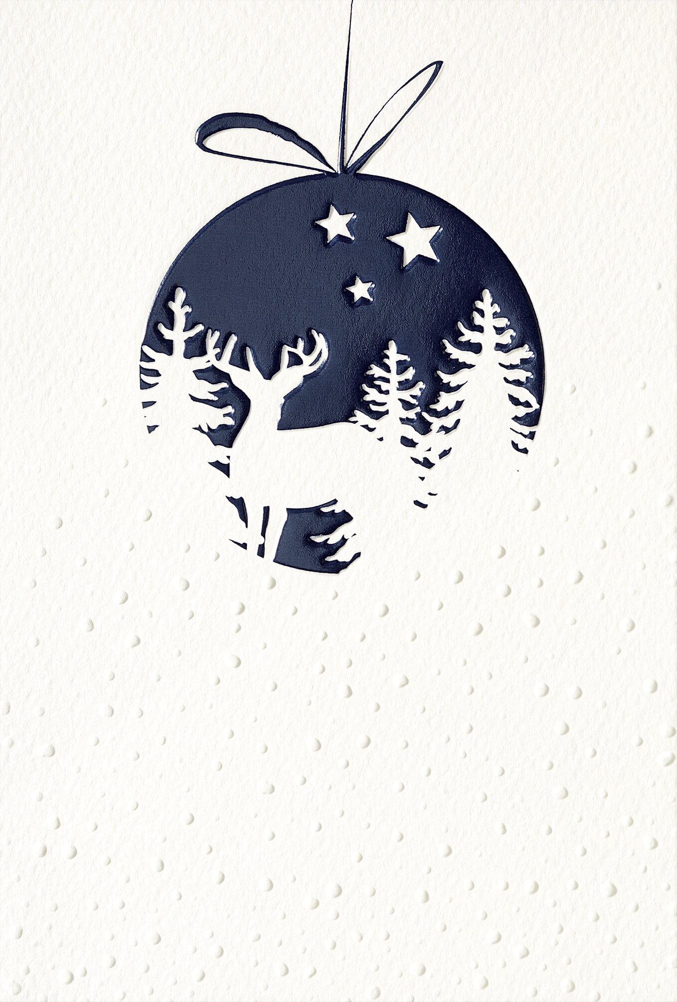Edle Weihnachtskarte Doppelkarte mit Fenster Vogel Umschlag