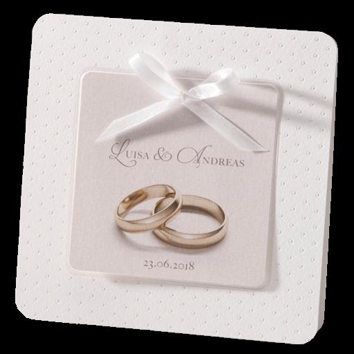 Hochzeitskarte Creme Mit Punktmuster Und Goldenen Eheringen