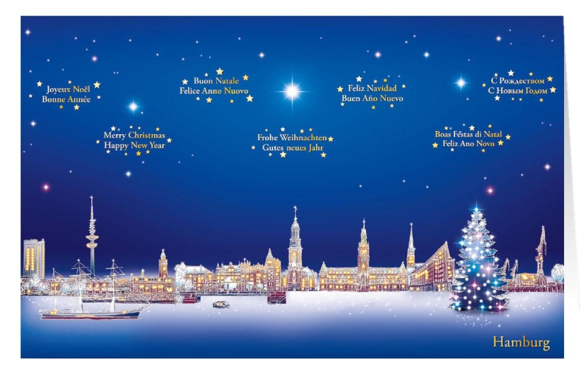 Weihnachtskarte mit internationalen grüßen aus hamburg städtekarte weihnachten weihnachtskarten mit stadtmotiven alle karten de