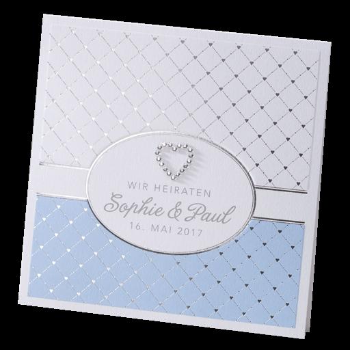 Hochzeitskarte Weiss Blau Silber Mit Herz Aus Strasssteinchen